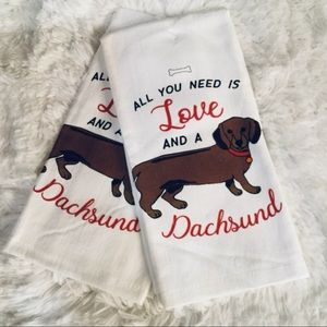 Dachshund Dog Kitchen Tea Towels Set 2 Cotton NWT